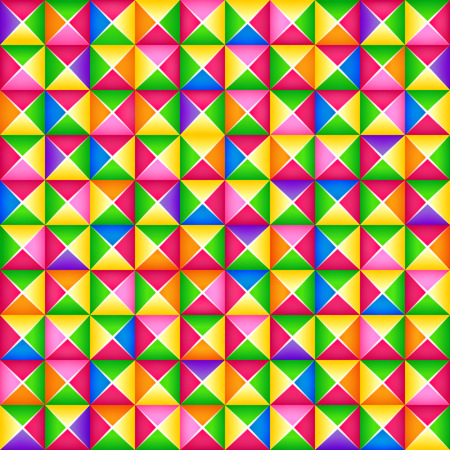 Vector seamless colorful 3d geometric pattern from square blocks. Origami style. Paper art. Fashion colored textile pattern, pattern for clothes, posters, modern backgrounds. Elements of constructor
