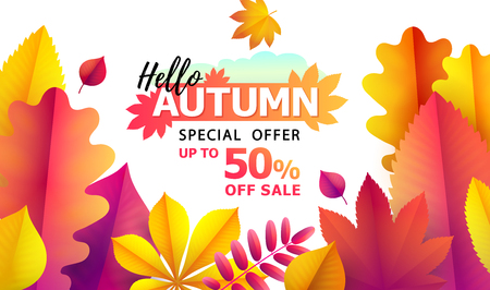 Text Hello Autumn, discounts from 50. Autumn Seasonal sale. Up to 50 off. Vector Background of bright falling red, yellow and golden autumn leaves of oak, aspen, chestnut, ashberry. Promotion banner