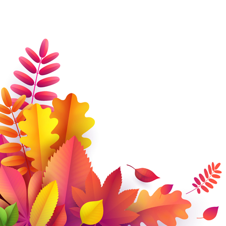 Vector autumn banner. Bouquet of bright yellow, orange, red fallen autumn leaves on blank white background with empty space. Greeting, gift banners, cards template with frame of autumn leaves border Ilustração