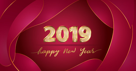 Golden Vector luxury text 2019 Happy new year. Gold Festive Numbers Design with diamonds texture. Gold shining. Happy New Year red banner 2019 Numbers for greeting card, calendar 2019. Fluid shapes