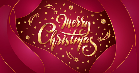 Vector Golden text Merry Christmas on red plastic effect background with falling stars, planets, comets, galaxies on liquid fluid background. Handwritten lettering for invitation, gift greeting card