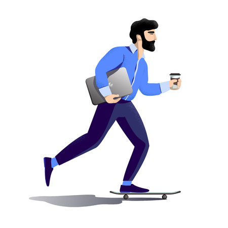 Bearded hipster businessman rushes to office to work. Rides on skateboard with laptop under his arm and paper cup with coffee in other hand. Hurrying to office. Flat vector character concept design.