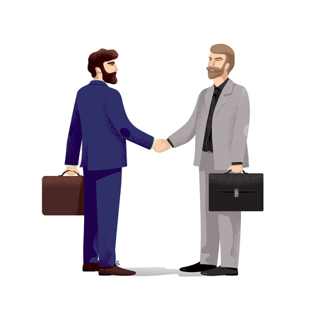 Two serious businessmen with well groomed appearance and beards, in business suits and with leather portfolios shake hands. Successful negotiations. Vector illustration, isolated on white background.