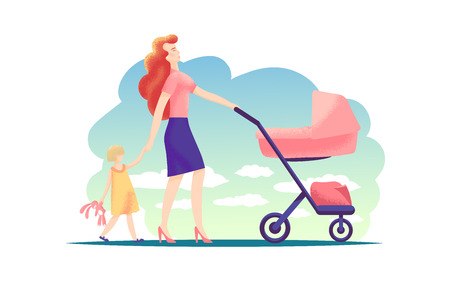 Happy young mother walking with baby stroller and holding hands with little girl. Family, child, parenthood concept. Modern flat illustration of happy family: mother, daughter, baby carriage outdoor