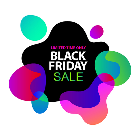 Neon lights blue, lilac, ultraviolet, pink gradients sale sticker. Minimalistic abstract liquid fluid form design. Black friday sale business offer template, social media, ads, promo posters. Vector Foto de archivo - 113240244