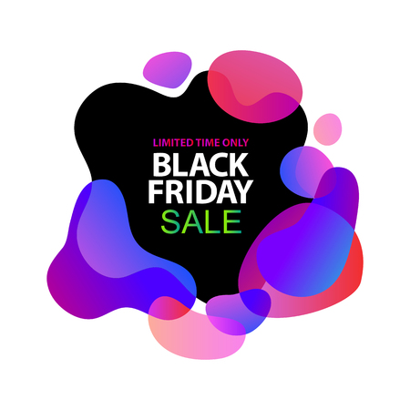 Neon lights blue, lilac, ultraviolet, pink gradients sale sticker. Minimalistic abstract liquid fluid form design. Black friday sale business offer template, social media, ads, promo posters. Vector Foto de archivo - 113240307