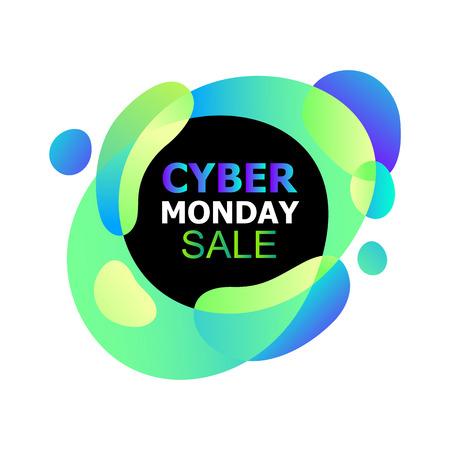 Cyber Monday-Konzeptbanner im trendigen abstrakten, flüssigen Neon-Stil, leuchtende nächtliche Farbverläufe, flüssige organische Formen, Werbung für Verkaufsrabatte von Cyber Monday. Vektorillustration für Flyer, Karten Vektorgrafik