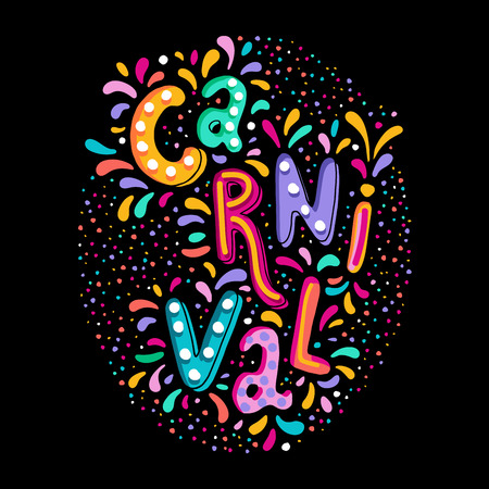 Bright colorful vector illustration. Carnival festival decorate handwritten lettering text. Frame with colorful confetti and fireworks. Popular Event in Brazil. Carnival Title, Colorful Party Elements