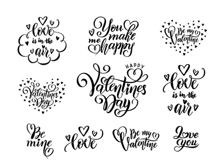vector romantic set of black hand written lettering love phrases quotes to valentines day, love concept, wedding design template, poster, greeting card, banner, calligraphy illustration collection