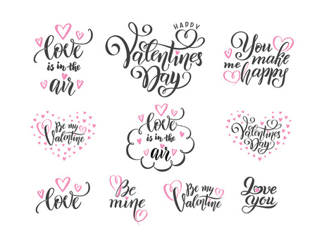 vector romantic set of black hand lettering love phrases quotes to valentines day, love concept, wedding design template, poster, greeting card, banner calligraphy illustration collection, pink hearts