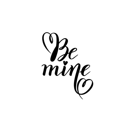 Be mine Valentine hand calligraphy lettering vector text. Valentines typography quote Be my. Inscription Illustration, Design template of Valentines day Greeting Card, red hearts. Love wedding concept