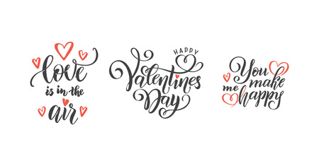 vector romantic set of hand lettering love phrases text quotes to valentines day, love concept, wedding design template, poster, greeting card, banner calligraphy illustration collection, red hearts