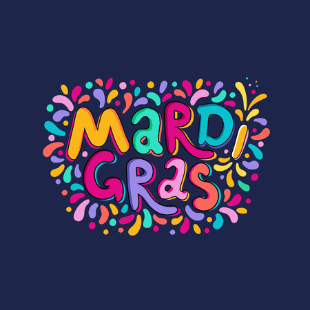Vector Hand drawn Mardi Gras Lettering text inscription. Carnival Title With Colorful Party Elements, confetti fireworks