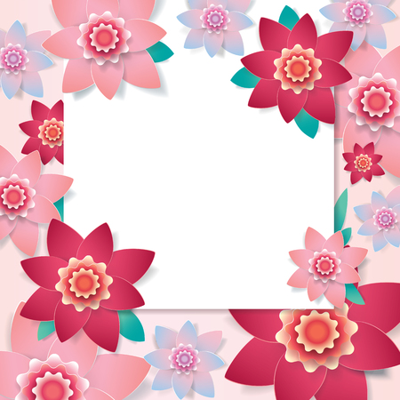 Floral wedding frame. Spring blooming Paper flowers greeting card, Invitation design template to March 8. Congratulations to Womens Day, Mothers Day. Summer flowers blossom. Paper cut style. Vector
