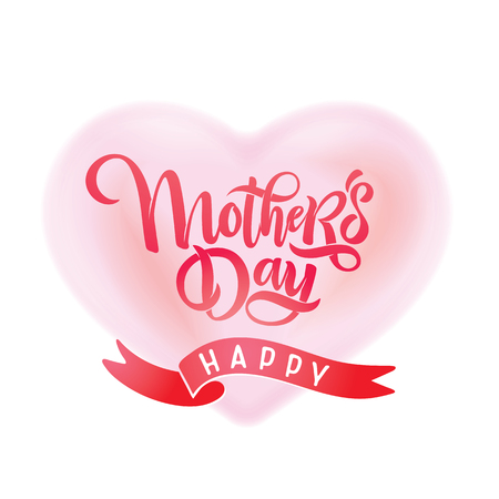 Vector Mothers day bright greeting card with festive beautiful calligraphy lettering, red big heart shape frame background, ribbon. Watercolor effect. Text Happy Mothers Day for celebration MOM day.