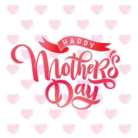 Vector Mothers day bright greeting card with festive beautiful calligraphy lettering, pink hearts pattern background, ribbon. Watercolor effect. Text Happy Mothers Day for celebration MOM day