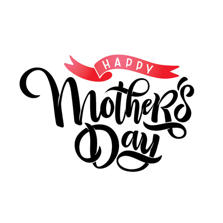 Happy mothers day calligraphy lettering with ribbon. Cute feminine hand drawn text Happy Mothers day design template holiday inscription, headline for card, invitation, banner. Vector illustration