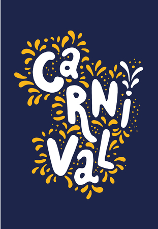Vector illustration. Carnival festival decorate handwritten lettering text solated on blue. Frame with orange confetti and fireworks. Popular Event in Brazil. Carnival Title, Colorful Party Elements Illustration