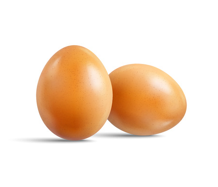 Two fresh raw chicken beige eggs isolated on white background. Realistic vector 3d illustration. Mock up for patterns for the feast of Easter. For creation of design templates labels, packaging.