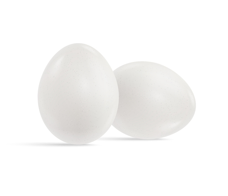 Two fresh raw chicken white eggs isolated on white background. Realistic vector 3d illustration. Mock up for patterns for the feast of Easter. For the creation of design templates labels and packaging