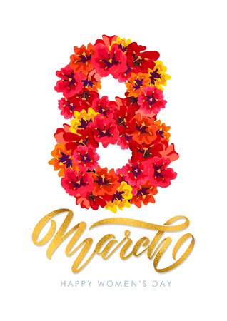 Vector Template for International Womens Day Greeting card for March 8 Decor of red spring flowers Calligraphy lettering text Happy Womens Day, number 8 of blooming tulip flowers. Invitation template