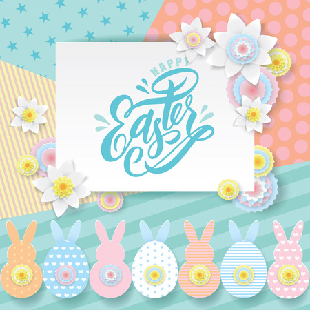 Easter paper cut style greeting card. Spring white flowers, cute paper cut out bunny, pascha rabbits on pink blue colors geometric patterns. Lettering hand drawn Text Happy Easter. Vector illustration Ilustracja