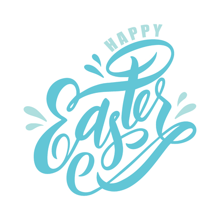 Hand drawn sketched Happy Easter calligraphy lettering text as Pascha logotype, badge and icon. Drawn Resurrection Sunday postcard, card, invitation, poster, banner template lettering typography.