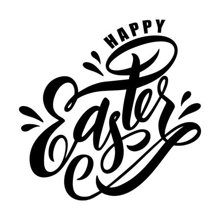 Hand drawn sketched Happy Easter calligraphy lettering text as Pascha logotype inscription. Resurrection Sunday postcard