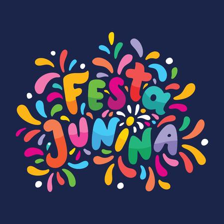 Brazilian Traditional Celebration Festa Junina illustration. Bright cartoon lettering text Festa Junina. Festive Typographic Vector Art with flashes of festive fireworks. Feast logo in a flash frame Logo