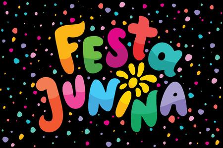 Brazilian Traditional Celebration Festa Junina illustration. Bright cartoon lettering text Festa Junina. Festive Typographic Vector Art with flashes of festive fireworks. Feast logo in a flash frame