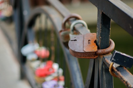 lasting: Set of wedding locks. Closed locks of different formats. The promise of a long and lasting marriage Stock Photo