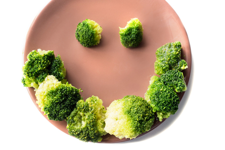Broccoli on a plate isolated on a white background