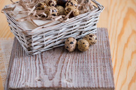 Textured spring background with small quail eggs. Eco products. Horizontal format, Copy space. Place for your inscription