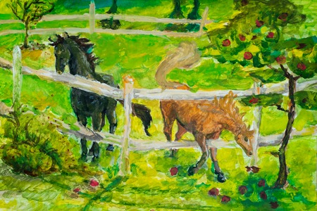 Horses grazing in sunset field, Horse in summerlandscape in field. Art painting. The photo is painted in the drawing style. Drawing paints a horse on canvas.