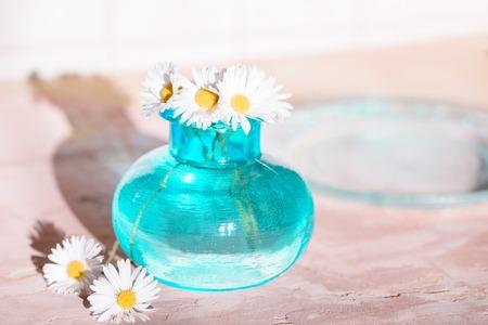 Daisies in a blue vase, Chamomile blue vase chamomile Stock Photo