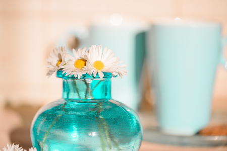Daisies in a blue vase, Chamomile blue vase chamomile. Blue mugs with tea in the background.