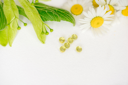 White tablets in kraft klubke, green leaf medicinal plants, homeopathic medicine. Leaf flowers and fruits of linden, chamomile flowers. Vitamin supplement for care, treatment, treatment Stock Photo
