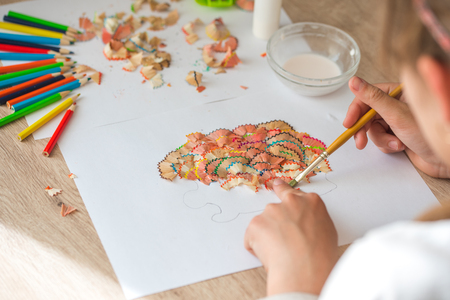 Shape of tree made of pencil shavings, Children's handicraft from color pencil shaving Reklamní fotografie
