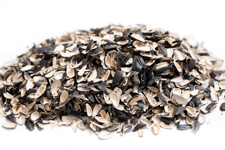 Sunflower seed shells isolated on white Stock fotó