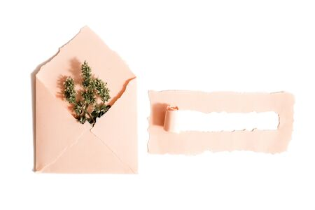 Opened pink envelope with flowers arrangements on white