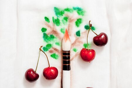 dreamy image of cherry tree. drawing tree cherry on white fabric with watercolor. big thick brush. fresh natural cherry berries. summer concept, childhood, joy