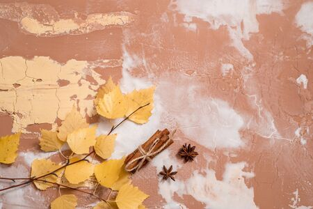 Dry autumn yellow birch leaves on a concrete background. Cozy autumn concept Flat lay. copy space. Cinnamon and cardamom for hot tea or cappuccino
