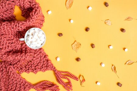 knitted brown scarf, marshmallow, sweets, nuts, golden cones and ingredients for making mulled wine. Bright dry autumn leaves on a yellow background. Cozy autumn concept. Top view. flat lay. 写真素材