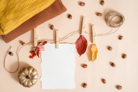 Autumn leaf composition, notebook. Dry bright leaves, nuts. knitted yellow warm scarf, golden pumpkin. The concept of cozy autumn. greeting card. Trend torn Paper. Flat lay, top view. copy space