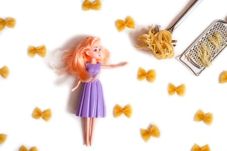 Purple doll with Raw pasta and cheese.