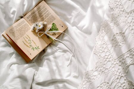 Openwork lace, cotton white blanket. book botany, mug with natural herbal tea made from mint, summer daisy flowers. Morning breakfast in bed. Provence and retro style. Clean cosiness and freshness Stock Photo