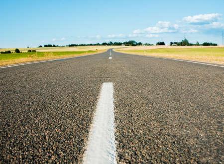 asphalt road to horizon.Summer green fields. blue cloudless sky.