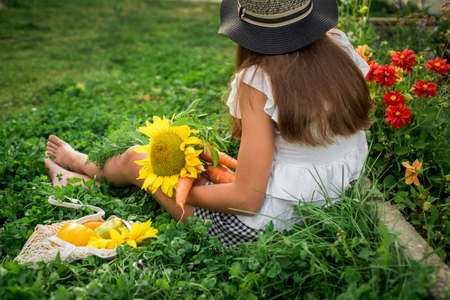 Cute little girl farmer in the village. yellow sunflower and harvest of vegetables, autumn bouquet in hands. outdoors