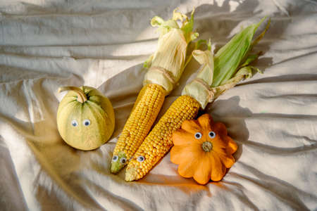 toys made from chestnuts and natural materials - autumnal toys Archivio Fotografico