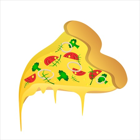 Piece of vegetarian pizza with tomato and a cheese Illustration
